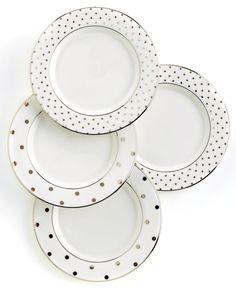 "kate spade new york ""Larabee Road"" Polka Dot Tidbit Plates, Set Of 4 - Stemware & Cocktail - Dining & Entertaining - Macy's"