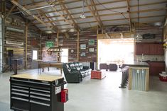 Morton Buildings hobby garage interior in Cypress, Texas.