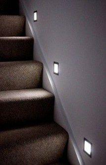 Stairway lighting Ideas with spectacular and moderniInteriors, Nautical stairway, Sky Loft Stair Lights, Outdoors Stair Lights, Contemporary Stair Lighting. Staircase Lighting Ideas, Stairway Lighting, Basement Lighting, Entryway Lighting, Staircase Design, Strip Lighting, Wood Staircase, Lights For Stairs, Indoor Stair Lighting