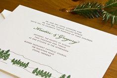 Evergreen Letterpress Wedding Invitations