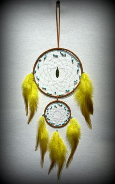 Large Brown Dream Catcher With Turquoise and por DreamySummerNights