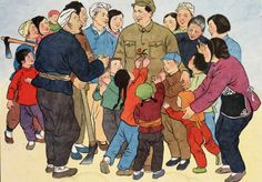 2 Chairman Mao Visits A Peasants Village. A Zhi (XX Century, Chinese)