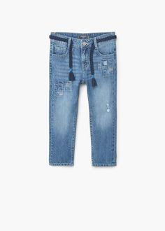 Jeans boyfriend aplicações | MANGO KIDS