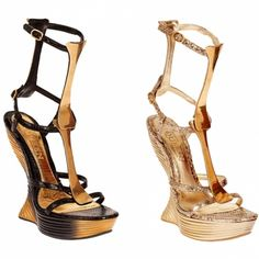 I call these shoes of the day, skeleton shoes by Alexander McQueen.