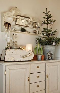 Tree in galvanized bucket & beautiful plate rack