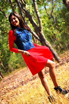 Feeling Red #red #dress #knit #denim #indigo #fashion #style #ootd #photography