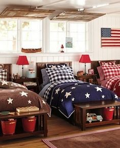 Americana Kids Room - this would make an especially nice boys room! If you didn't have space for each bed laid out seperately, you could still do this with bunk beds!) For sky high ranch bunk house Blue Bedroom, Kids Bedroom, Bedroom Decor, Bedroom Ideas, Childrens Bedroom, Design Bedroom, White Bedrooms, Shared Bedrooms, Dream Bedroom
