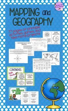 77 pages of geography practice!  This activity pack includes printables, games, and a take home project for students in grades 1-3.  Concepts and skills covered include: Compass rose, Continents & Oceans, Major Rivers,Using maps, Using coordinate grids.... For more like this check out my Pin Board https://www.pinterest.com/rwredhead/reading-and-writing-redheads-teachers-pay-teachers & sign up for my monthly newsletter for a freebie: eepurl.com/DFyuj .
