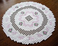 HARDANGER Embroidery - DOILY with little ROSES - new and handmade from ...