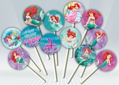Little Mermaid Cupcake Toppers by DigiPartyShoppe on Etsy https://www.etsy.com/listing/162558816/little-mermaid-cupcake-toppers