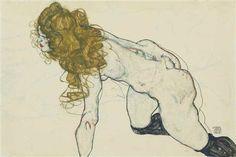 Kauernder weiblicher Akt mit blonden Haaren und aufgestütztem linken Arm (recto); Liebespaar (verso) - Egon Schiele