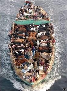 Traders carry cattle in a boat across the River Buriganga near Dhaka, Bangladesh
