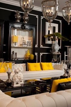 Black and white living room with yellow accents to bring in an element of boldness and fun! Interior Design Inspiration, Home Interior Design, Hollywood Regency Decor, Dark Interiors, Living Room Designs, Decoration, Home Decor, Living Room Yellow Accents, Black And White Living Room Decor