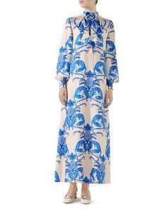 be842303e B4DR8 Gucci Dragon & Pineapple Long Silk Dress Duster Coat, Kimono Top,  Gucci,