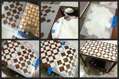 DIY fast and easy upcycle stencil project how to via Petticoat Junktion using furniture stencils by Royal Design Studio