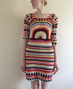 Hand made one of a kind crochet dress with back cut out detail and lacy sleeves! Size 4 Multicolor cotton-acrylic yarn