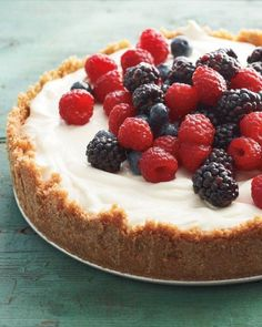 No-Cook Red, White, and Blue Cheesecake Recipe... I've never tried cheesecake before. Maybe I'll try this.