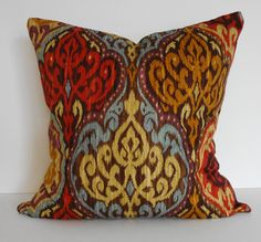 Ikat Decorative Throw Pillow Cover, Gold, Red, Brown, Blue, Purple,18 x 18.