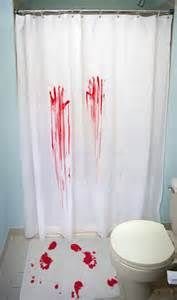 #Scary #Halloween #Decorations #DIY #Bathroom - buy a #dollar-store plain white shower curtain and a #cheap white bath mat. Use acrylic paint or fake #blood for hand and foot prints. Let dry VERY well before use or you will have it tracked throughout your house! M