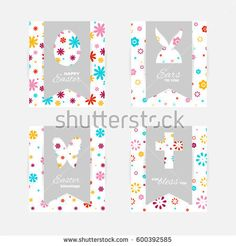 Template of Easter greeting cards. Grey isolated layer on top individualized with a cut out silhouettes of egg, hare,  butterfly and cross. Bottom layer contains a  floral pattern on white background.