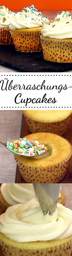 #surprise #surprise Cupcake Recipes, My Recipes, Cooking Recipes, Muffins, Cake Creations, No Bake Desserts, Cake Pops, Vanilla Cake, Surprise Surprise