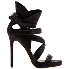 CAMILLA SKOVGAARD collar cross sandal stiletto ($598) ❤ liked on Polyvore featuring shoes, sandals, heels, high heels, black high heel sandals, black shoes, high heels stilettos, leather shoes and black sandals