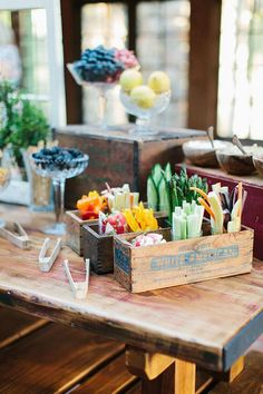 Put crudities in wood crates | Brides.com