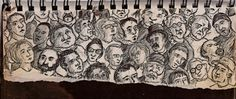 Faces In the Crowd, 2003ish pen and ink © copyright Mike Kraus  I wonder how many people know that I've captured them in my sketchbook?  Here's a sampling from hanging out in Millennium Park in downtown Chicago.  Lots of characters makes for interesting people watching.  You can tell who is a tourist because they look up at all the skyscrapers.  I don't know about the people looking down or about the guy in the top hat.