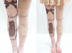 Cute Cat Pastel Goth Printed Tights Pink - Hosiery | RebelsMarket $9.90