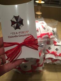 "Resident Evil Umbrella Corp. Denver Wedding Tea bag wedding party favors ""Tea-Virus"" #umbrellacorpdenver #tvirus #residentevilwedding Organic breakfast tea"