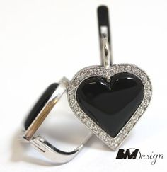 Kolczyki z onyksem i diamentami, serce, Rzeszów BM