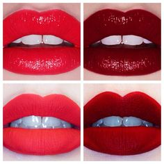 Which red are you? Clockwise from top left: Retrofuturist, Glamour 101, Suedeberry or Red Velvet? All lipsticks by Lime Crime.