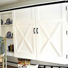 Farmhouse cabinets kitchen barn doors ideas for 2019 Barn Door Garage, Barn Door Cabinet, Wood Barn Door, Diy Barn Door, Cabinet Decor, Barn Doors, Diy Door, Cabinet Ideas, Sliding Cabinet Doors