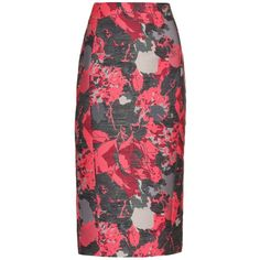 Antonio Berardi Floral-jacquard pencil skirt ($879) ❤ liked on Polyvore featuring skirts, pink multi, red high waisted skirt, high waisted skirts, knee length pencil skirt, floral midi skirt and red midi skirt