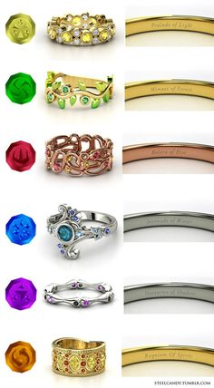 Rings inspired from Zelda: Ocarina of TIme.   The Nocturne of Shadow is my favorite!