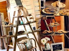 Rustic chic wedding decor. Barn reception. Cookie Display