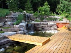 Garden waterfall pond design is a fantastic idea to create attractive garden decoration. You can buy garden waterfall pond designs with stone or clay material. Pond Design, Landscape Design, Garden Design, Landscaping Around Trees, Pond Landscaping, Backyard Water Feature, Ponds Backyard, Building A Pond, Garden Waterfall