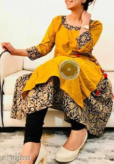 Checkout this latest Kurtis Product Name: *Women Cotton Layered Solid Mustard Kurti* Fabric: Cotton Sleeve Length: Three-Quarter Sleeves Pattern: Solid Combo of: Single Sizes: L, XL, XXL, XXXL, 4XL, 5XL, 6XL, 7XL Country of Origin: India Easy Returns Available In Case Of Any Issue   Catalog Rating: ★4.3 (527)  Catalog Name: Women Cotton Layered Solid Mustard Kurti CatalogID_1818313 C74-SC1001 Code: 947-10120393-5502