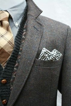Ensembles I Like - This is a sharp but neutral style for men created by combining several layers. A plaid neck tie with sweater on top, finished with a jacket and pocket square. #sweater #mensstyle #style Gentleman Mode, Gentleman Style, Sharp Dressed Man, Well Dressed Men, Look Fashion, Mens Fashion, Fashion Styles, Moda Hipster, Tweed Sport Coat