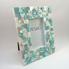 Items similar to Light Blue, White, and Grey Mosaic Picture Frame - Vertical or Horizontal on Etsy