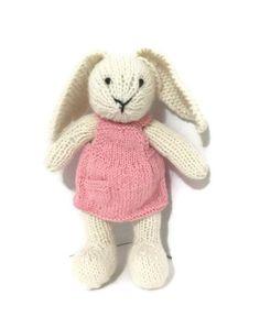 Knit Bunny Doll Stuffed Bunny Stuffed Animal Plush by Knitneys