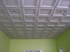 I am not a fan of drop ceilings but this sound proof ceiling looks nice. I am not a fan of drop ceil Acoustic Ceiling Tiles, Drop Ceiling Tiles, Drywall Ceiling, Ceiling Grid, Dropped Ceiling, Soundproof Basement Ceiling, Types Of Ceilings, Ceiling Installation, Basement Remodeling