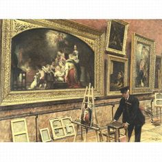 An Evening at the Louvre. Signed Louis Béroud and dated 1912 (lower right).  The perspective of the pictorial space invites the viewer to compare the working canvas, turned obviously outward, with the original that hangs beyond. The smaller canvas is a detail of the larger, with only slight variations in form and color.  The museum's custodian in his official black-blue uniform, feather duster tucked under his arm, he peers at the after-hours workspace as he prepares to clean. 96.5x130.8 cm