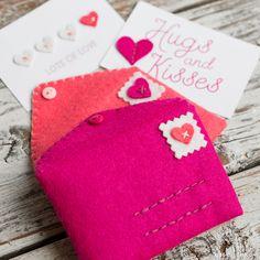 Hand Stitched Felt Envelopes