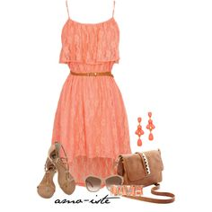 A fashion look from March 2013 featuring short dresses, gladiator sandals flats and shoulder strap bags. Browse and shop related looks. Mode Outfits, Dress Outfits, Girl Outfits, Dress Up, Fashion Dresses, Lace Dress, Grad Dresses, Dresses For Teens, Casual Dresses