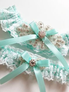 4166bf369 Lace Garter Wedding Garter Aqua Blue Wedding Garter by JLWeddings