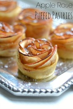 These Apple Rose Puffed Pastries are a simple yet elegant way to serve a unique dessert. These Apple Rose Puffed Pastries are a simple yet elegant way to serve a unique dessert. Unique Desserts, Mini Desserts, Just Desserts, Delicious Desserts, Dessert Recipes, Yummy Food, Dinner Party Desserts, Beautiful Desserts, Party Appetizers