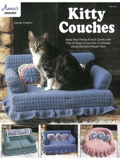 Provide your little feline (or small canine) friend with a soft, warm place to snooze with these 3 pet-pleasing sofas. Stitch a x x blue couch, a 10 x diameter pink chair and a 18 x x Chat Crochet, Annie's Crochet, Crochet Shrug Pattern, Crochet Books, Afghan Crochet Patterns, Crochet Crafts, Crochet Projects, Cat Couch, Blue Couches