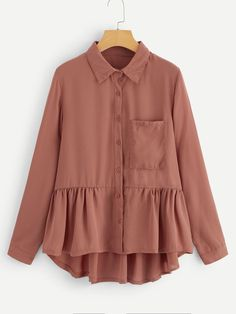 Shop Plus Ruffle Hem Solid Blouse online. SHEIN offers Plus Ruffle Hem Solid Blouse & more to fit your fashionable needs. Muslim Fashion, Hijab Fashion, Fashion Outfits, Korean Fashion, Hijab Outfit, Hijab Casual, Blouse Outfit, Blouse Styles, Blouse Designs