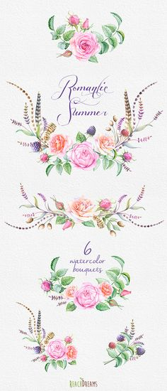 Watercolor Bouquets hand painted clipart roses feathers
